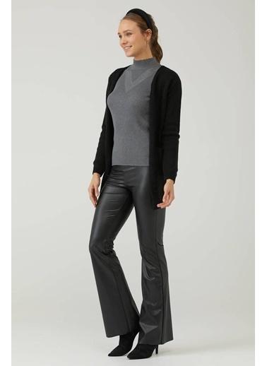 Sementa Kadın Örgü Detaylı Cepli Uzun Triko Hırka - Siyah Siyah